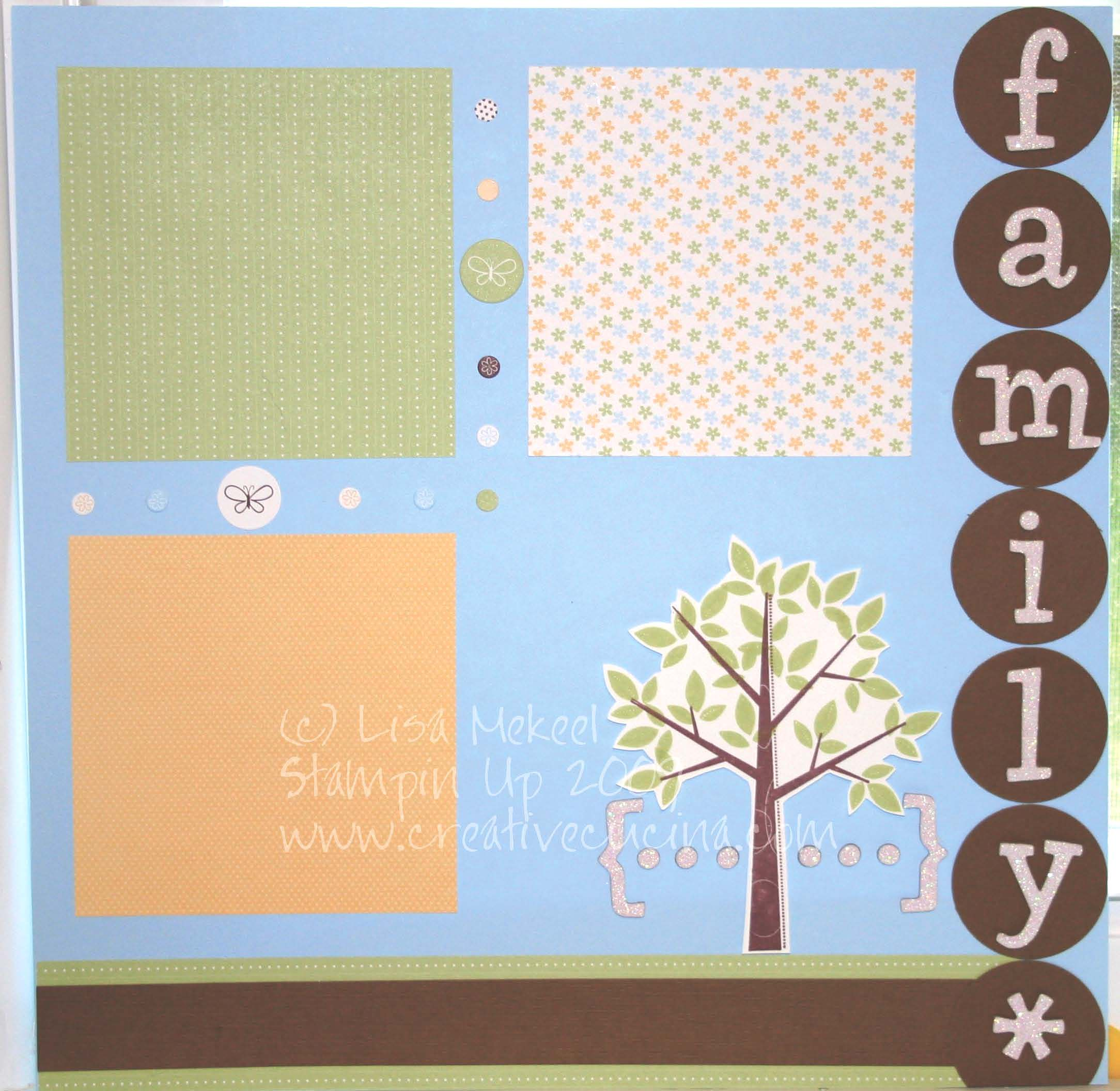 How to scrapbook family tree - Here I Stamped The Tree From Season Of Friendship In Chocolate Chip Ink On Whisper White Leaves In Certainly Celery And Trimmed It Out