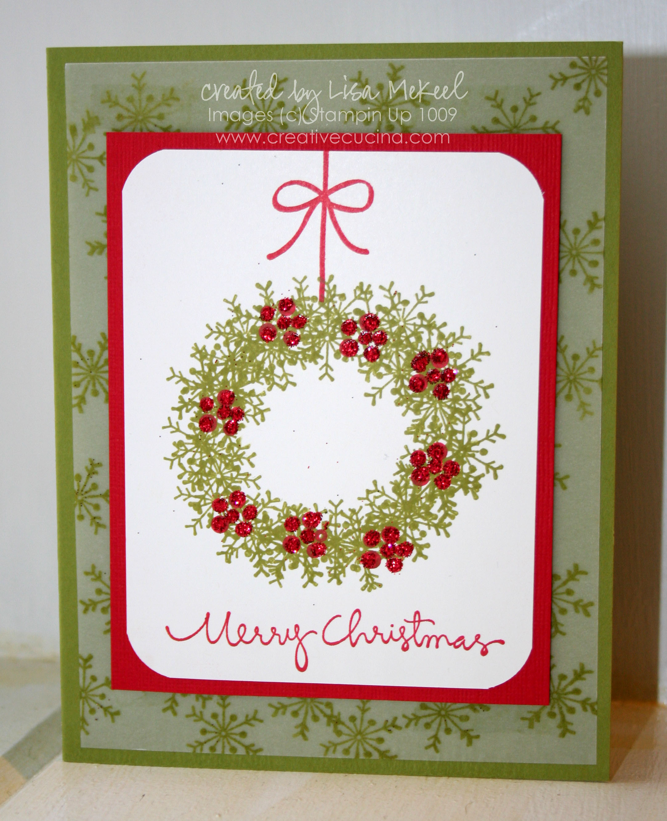 Traditional Christmas Card Wreath Using Snowflake Stamp | Creative ...