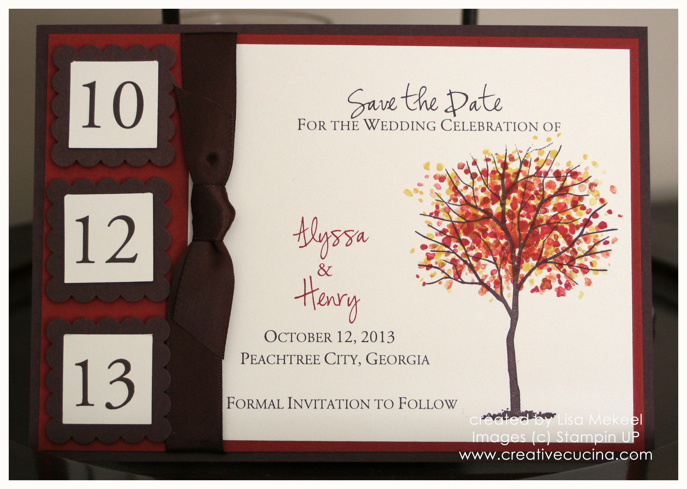 Fall/Autumn Wedding Save the Date Card or Invitation | Creative Cucina