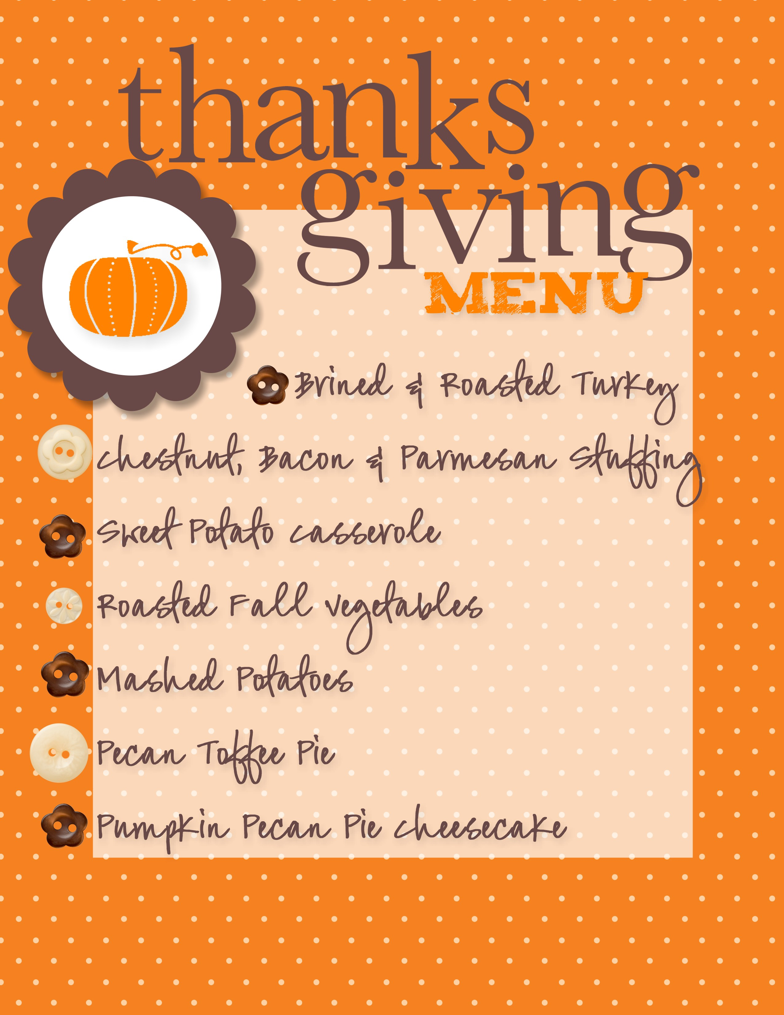 Our thanksgiving menu made with my digital studio for List of things for thanksgiving dinners