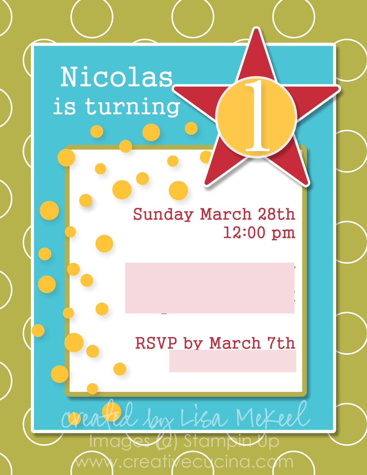 My Digital Studio First Birthday Invitations | Creative Cucina