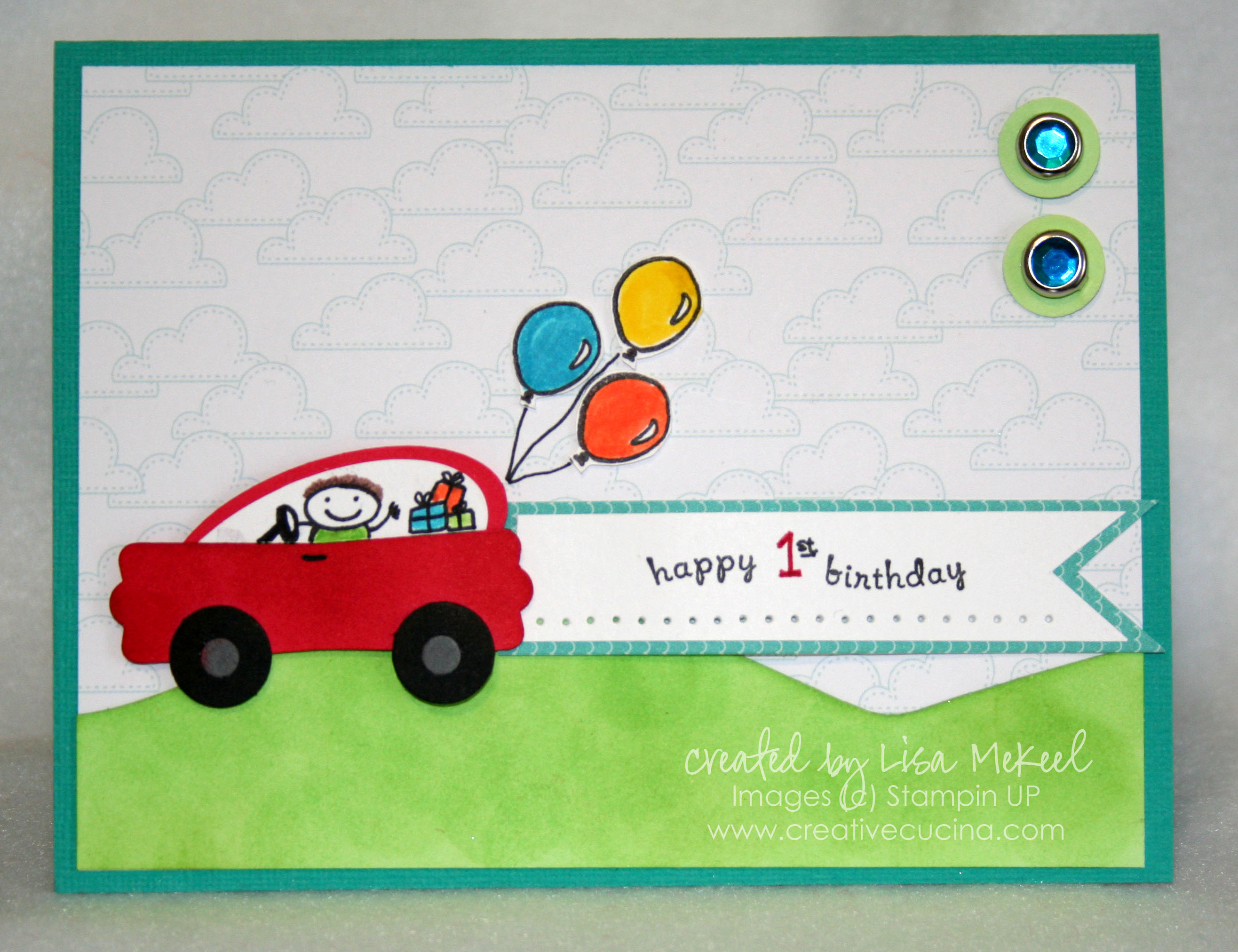 Stampin Up Punch Art Car Card for Boy s Birthday