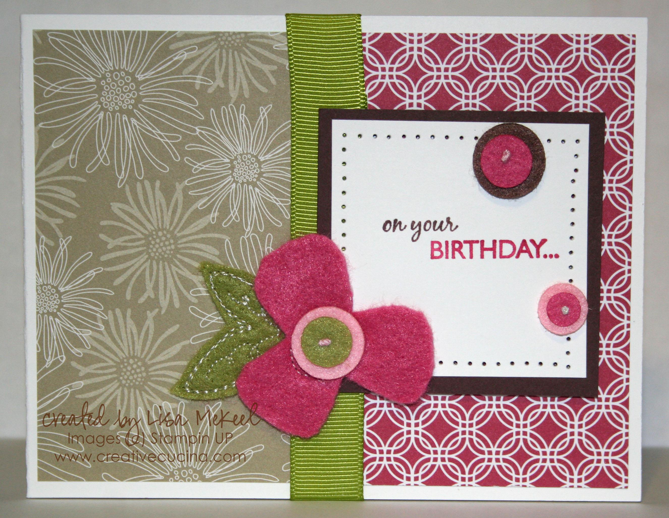 Stampin Up Thoroughly Modern Felt Birthday Card Creative Cucina