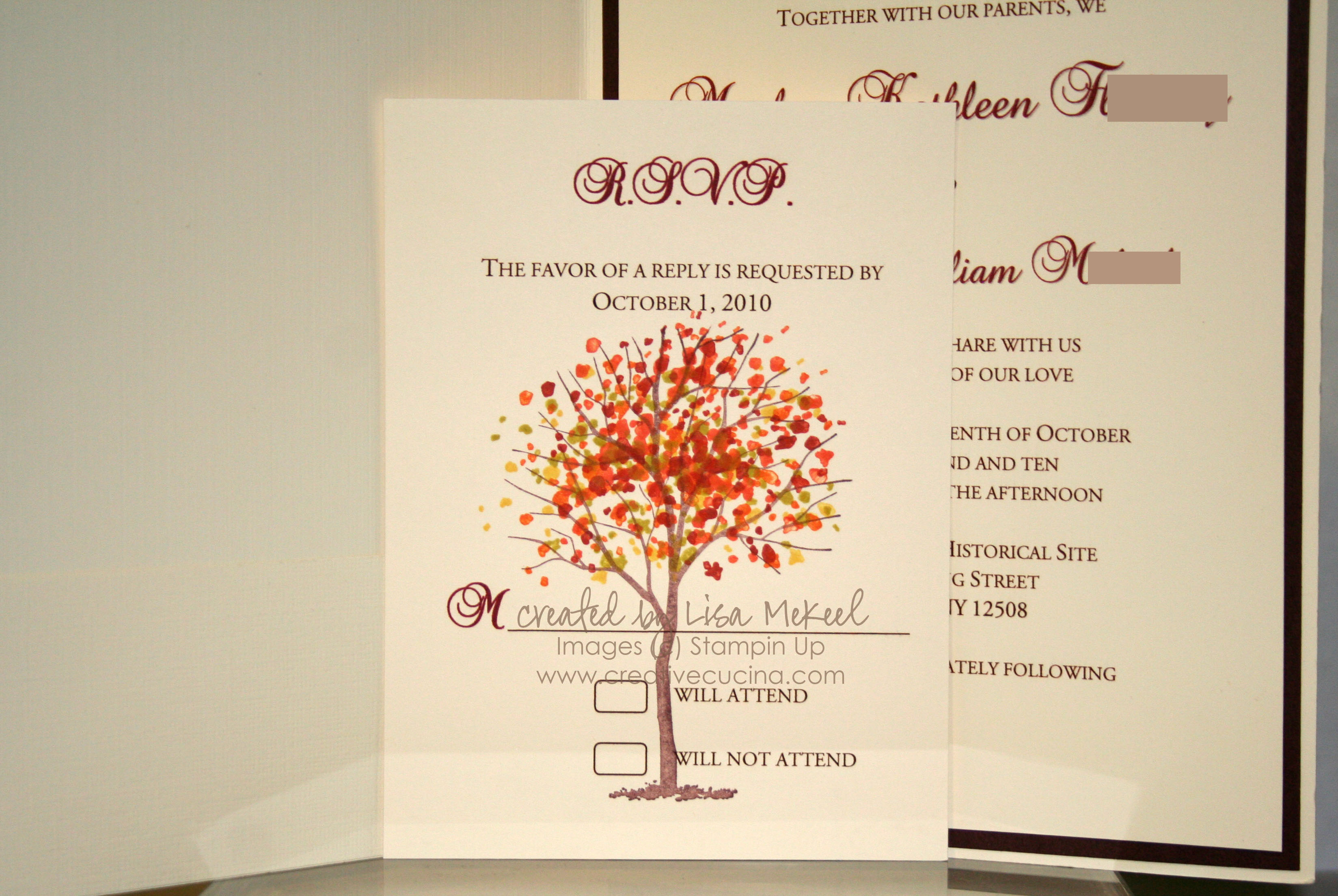 Elegant Autumn Fall Wedding Invitations | Creative Cucina
