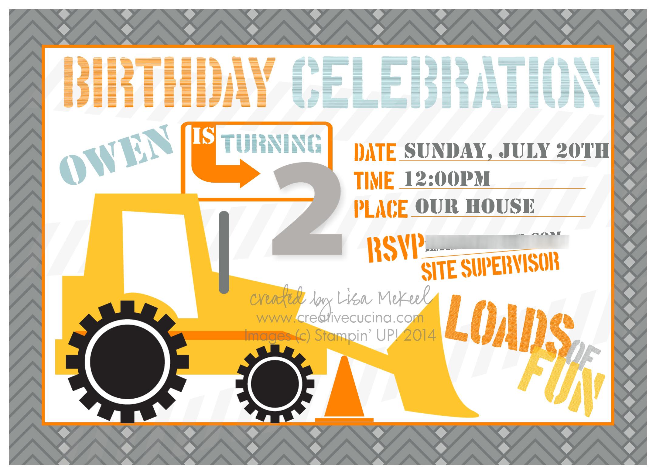 construction truck theme boy's birthday party {my digital studio, Birthday invitations